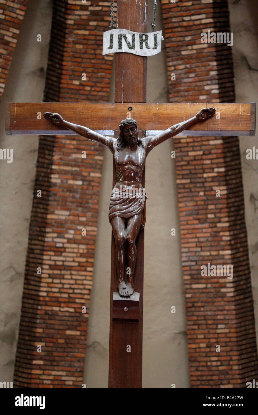 Crucifix, St. Anne's Basilica, Brazzaville, Congo, Africa - Stock Image