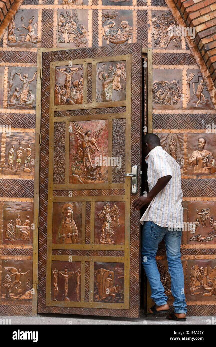 Gate, St. Anne's Basilica, Brazzaville, Congo, Africa - Stock Image