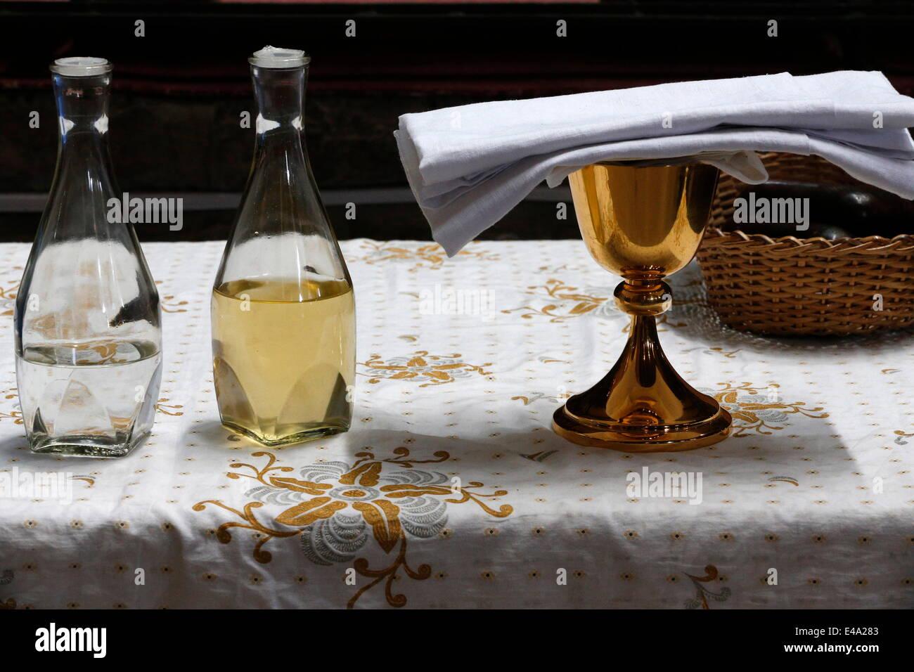Eucharist, water and wine, St. Anne's Basilica, Brazzaville, Congo, Africa - Stock Image