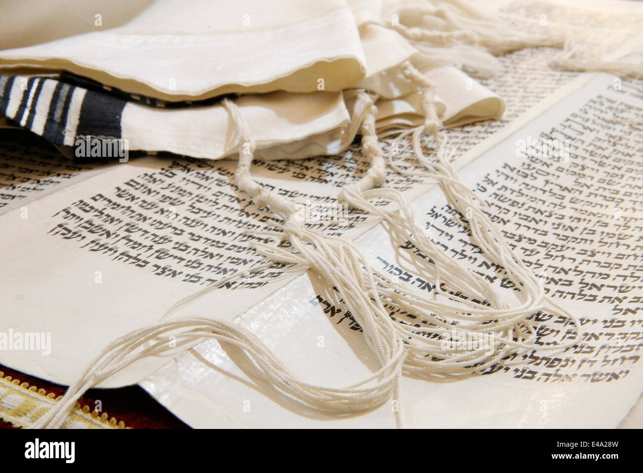 Torah scroll and Tallit, Jewish prayer shawl, Paris, France, Europe - Stock Image