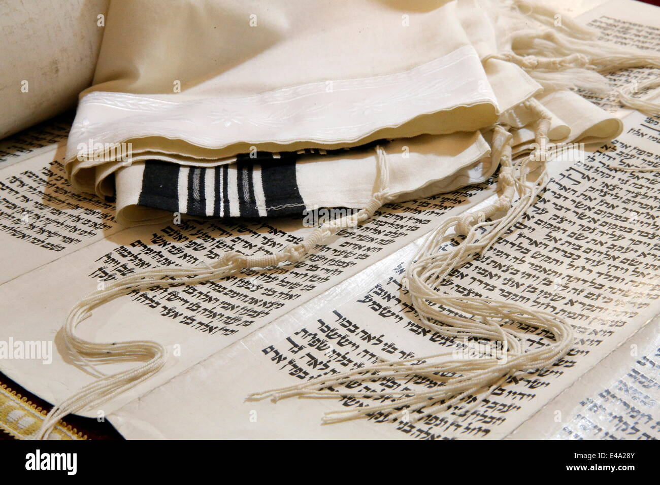 Torah scroll, Tallit, Jewish prayer shawl and Tziitzit, knotted ritual fringes, Paris, France, Europe - Stock Image