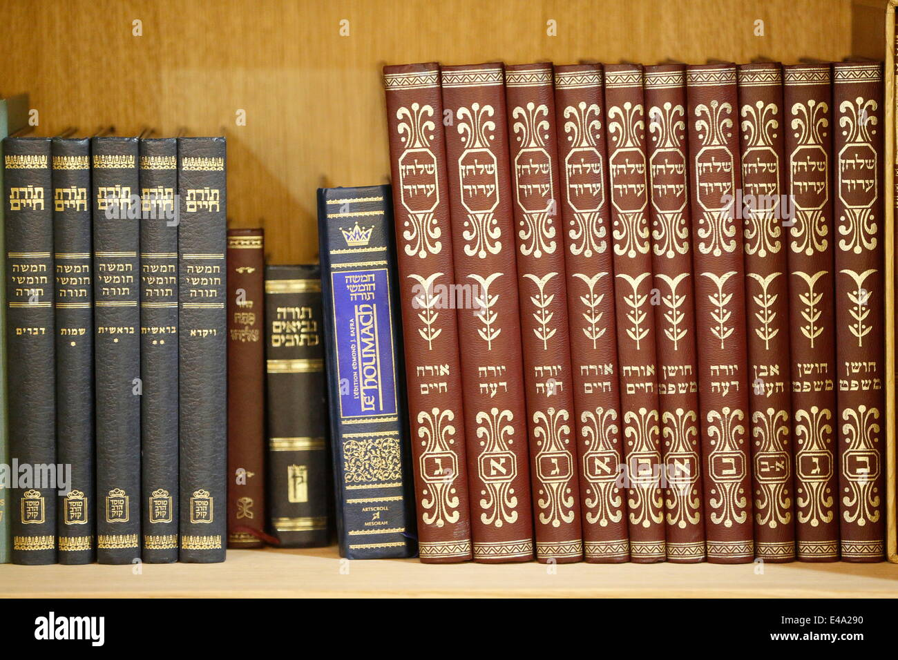Liturgical books in a Synagogue, Paris, France, Europe - Stock Image