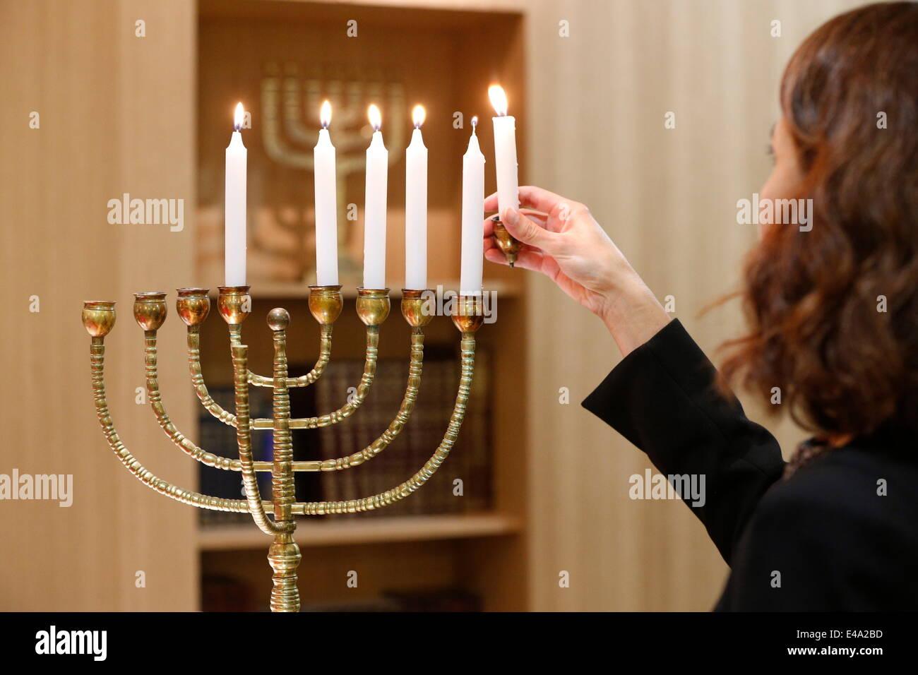 Lighting the Hanukkah candles, Paris, France, Europe - Stock Image