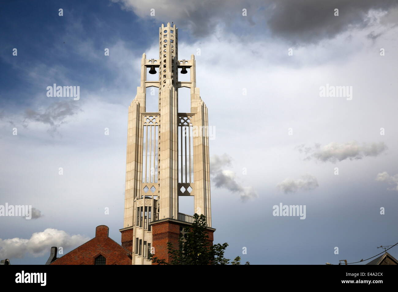 Church spire of Our Lady of Rocquigny, Somme, France, Europe - Stock Image