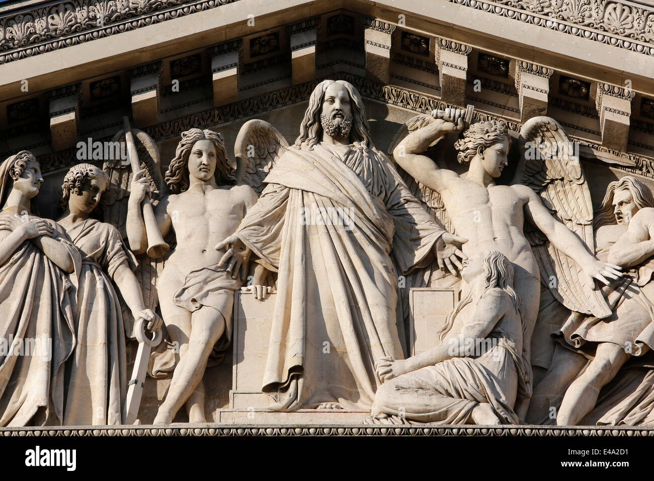 Detail of the Final Judgment, La Madeleine Catholic church pediment, Paris. France, Europe - Stock Image