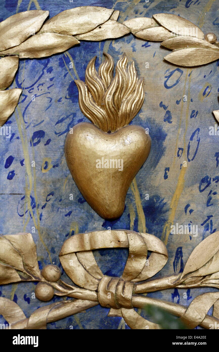 Sacred Heart, St. Nicolas de Veroce, Haute-Savoie, France, Europe - Stock Image