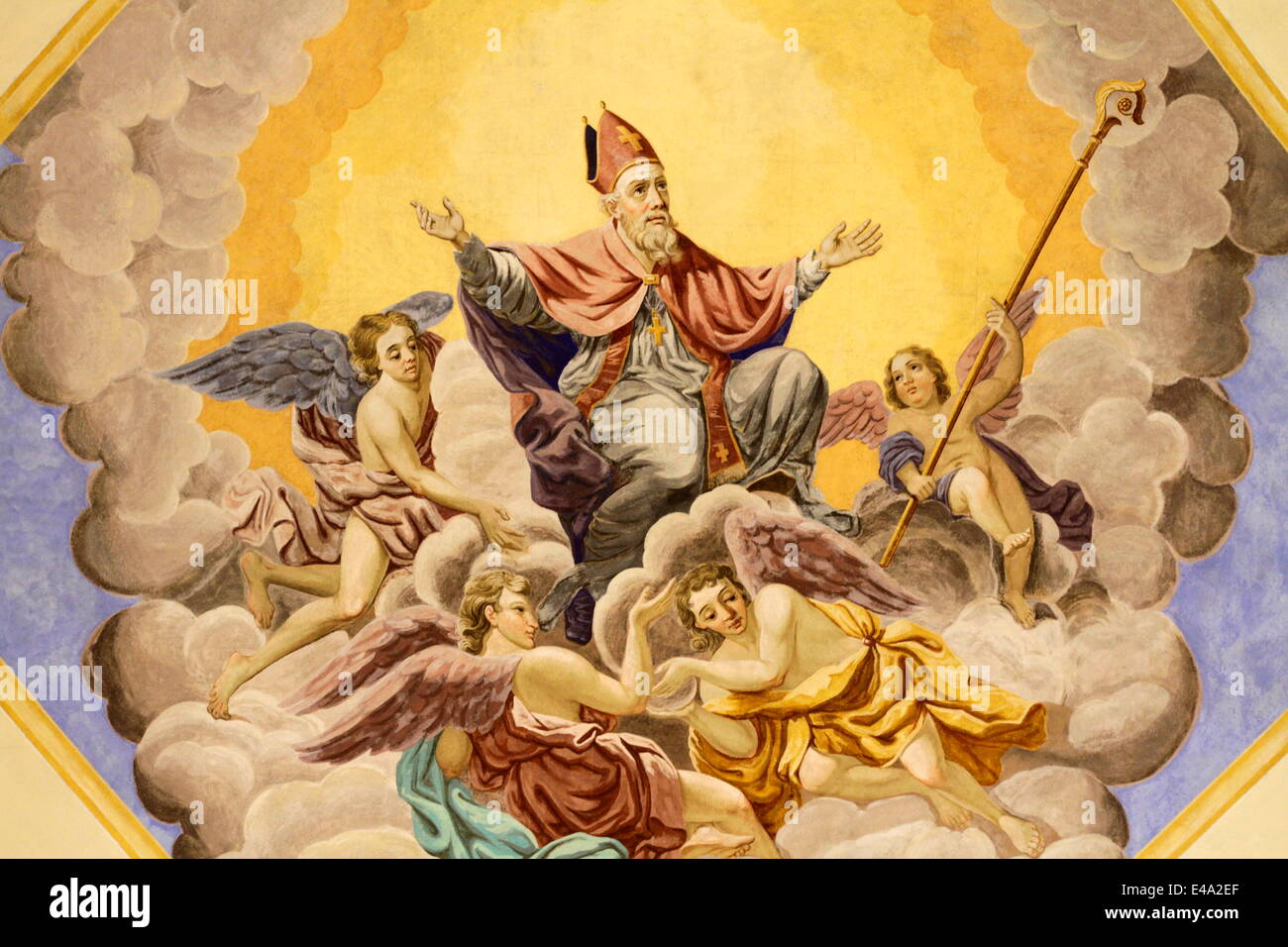 St. Nicolas ascends to heaven, Bishop of Myra, Life of St. Nicolas, St. Nicolas de Veroce church, St. Nicolas de - Stock Image