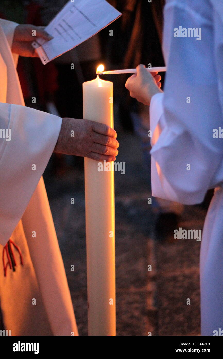 Great Vigil of Easter, St. Gervais-les-Bains, Haute-Savoie, France, Europe - Stock Image