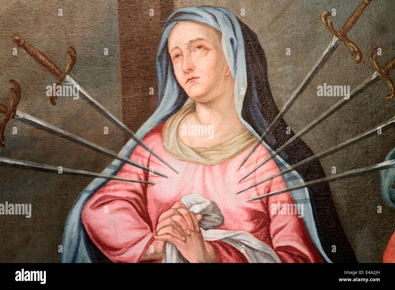 Virgin Mary, The Seven Sorrows,. Our Lady of the Assumption church, Cordon, Haute-Savoie, France, Europe Stock Photo