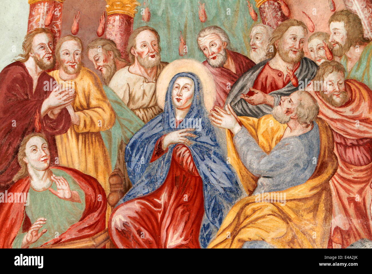 Descent of the Holy Spirit, Our Lady of the Assumption church, Cordon, Haute-Savoie, France, Europe - Stock Image