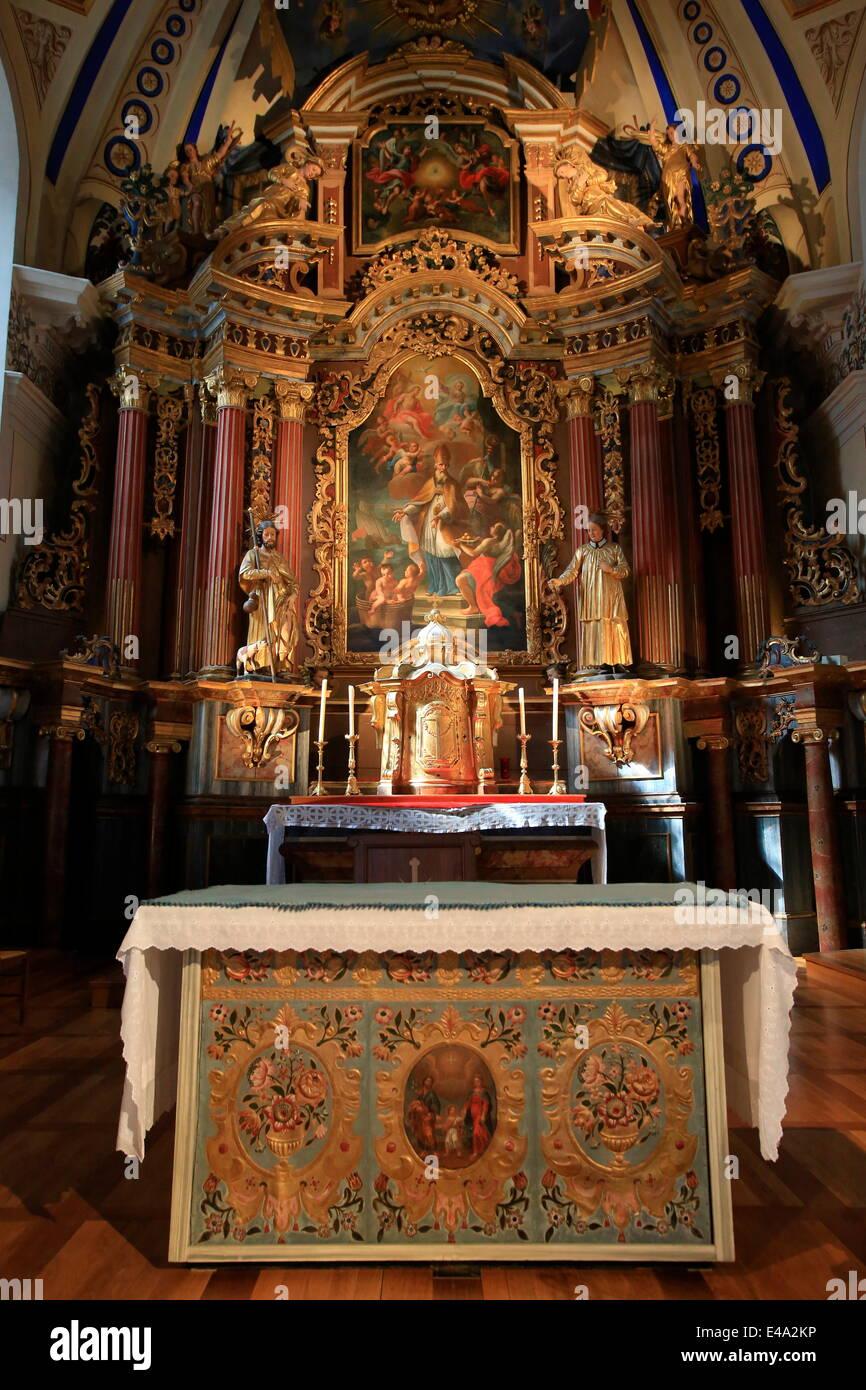 Altar, St. Nicolas de Veroce church, Haute-Savoie, France, Europe - Stock Image