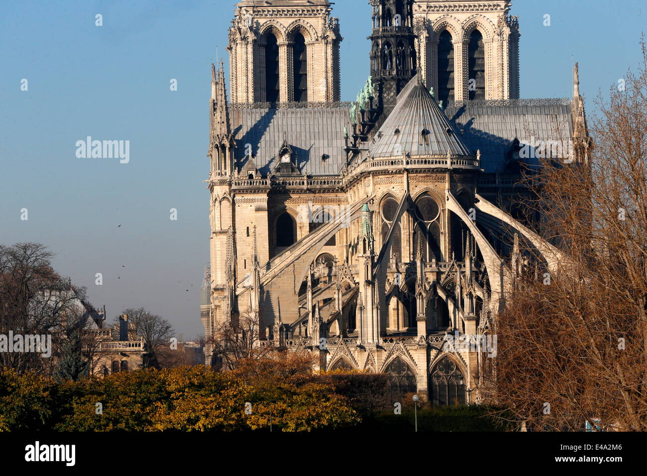 Chevet Of Notre Dame Cathedral Paris France Europe Stock Photo