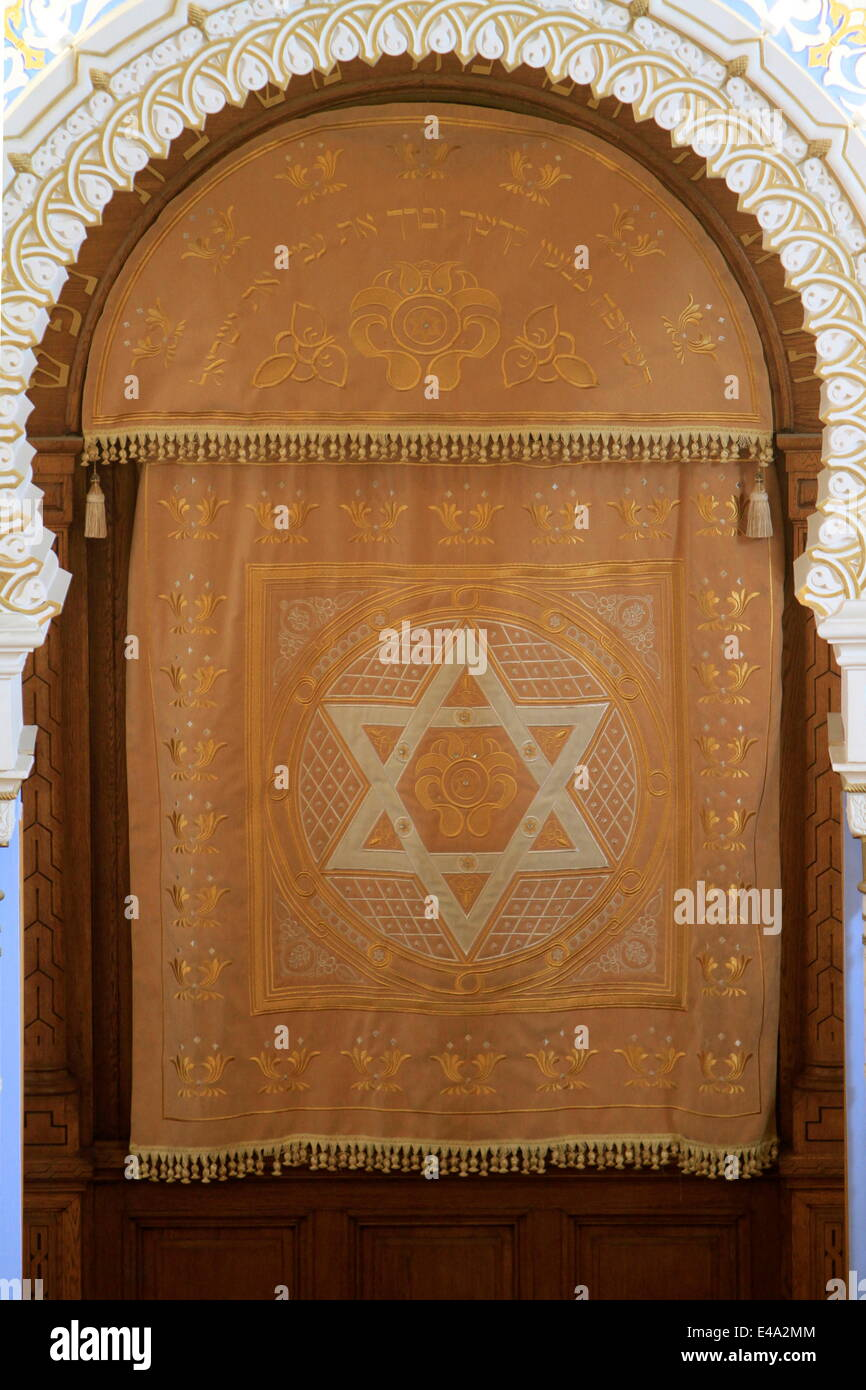 Holy Ark curtain, Edmond J Safra Grand Choral Synagogue, St. Petersburg, Russia, Europe - Stock Image