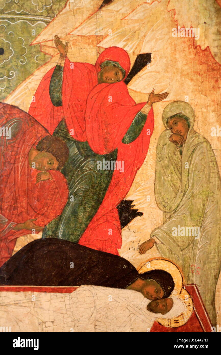Sixteenth century painting of the The Entombment by Pskov, Russian Museum, St. Petersburg, Russia, Europe - Stock Image