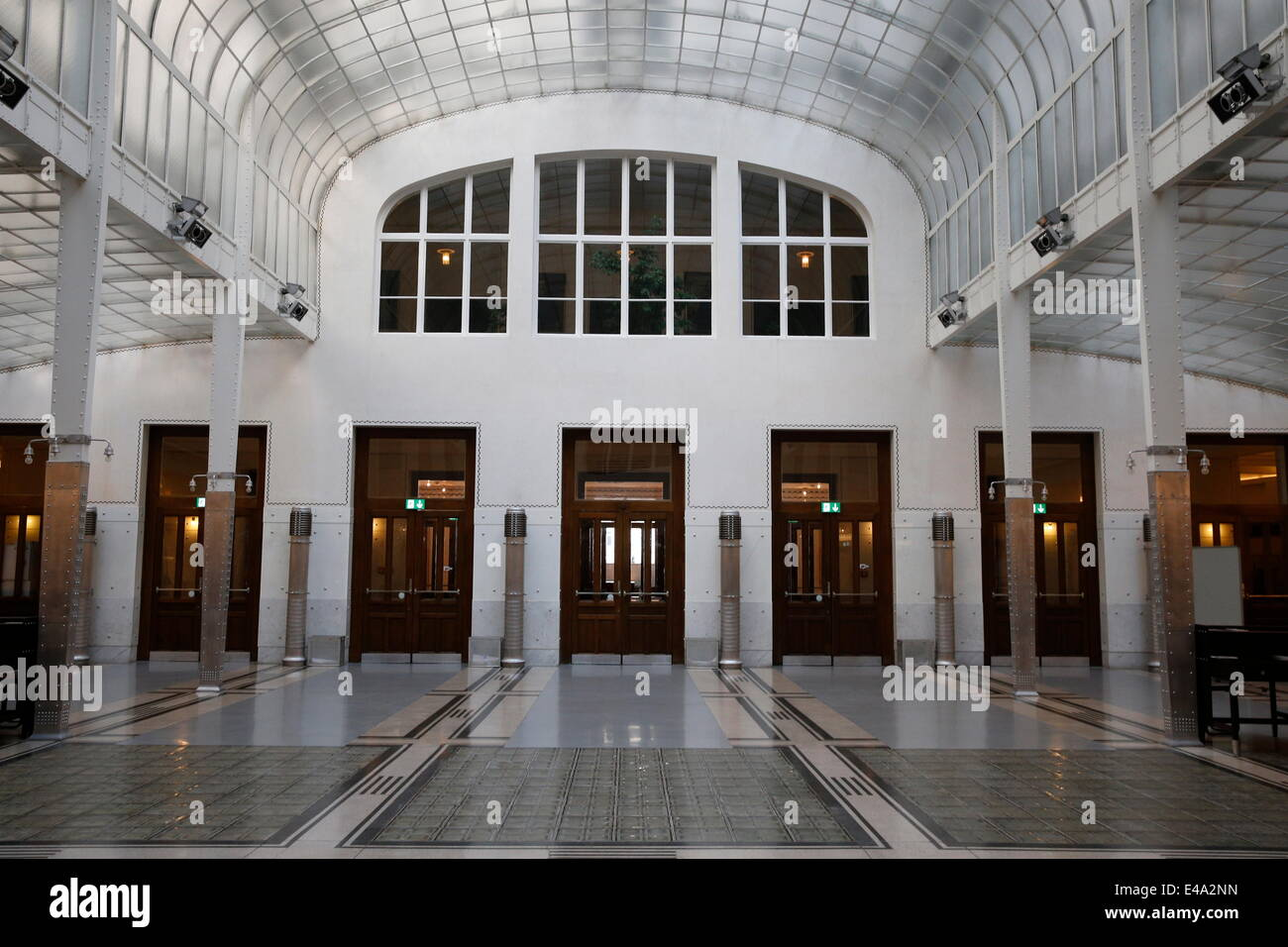 The Austrian Postal Savings Bank building, a modernist building in Vienna, built by the architect Otto Wagner, Vienna, - Stock Image