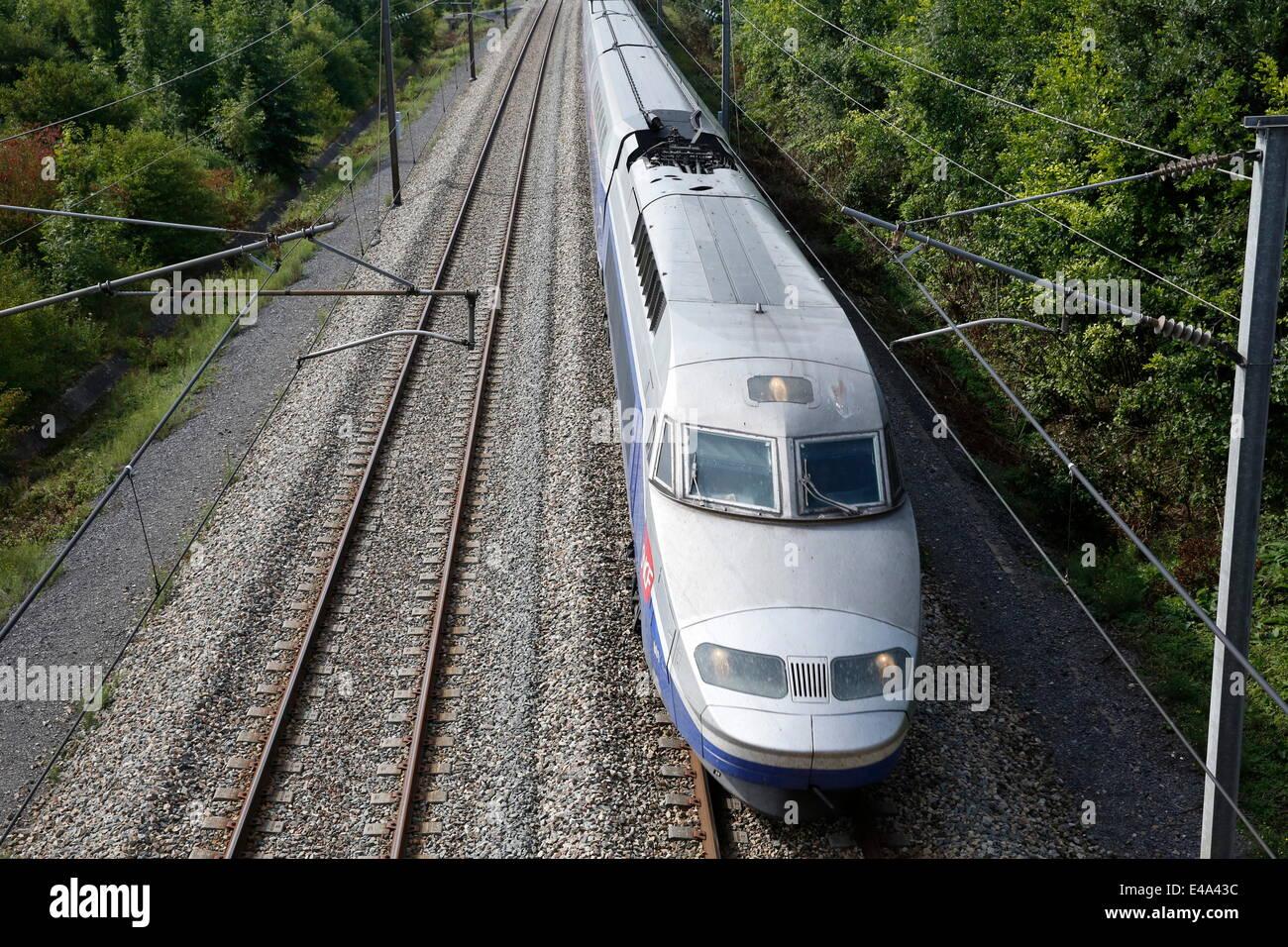 High-speed train, Pas-de-Calais, France, Europe - Stock Image