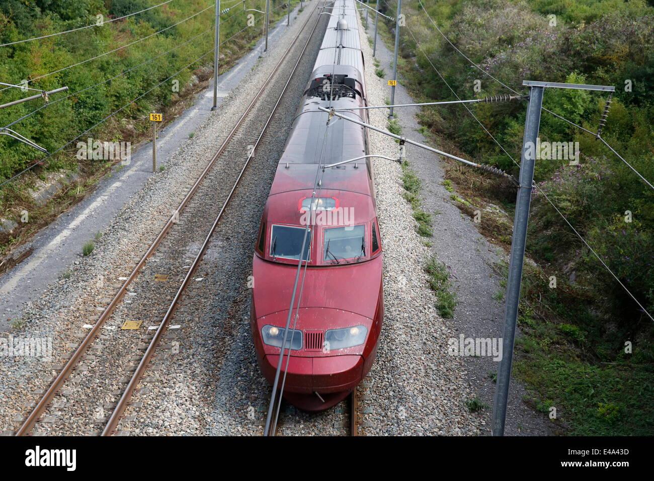 High-speed Thalys train, Pas-de-Calais, France, Europe - Stock Image