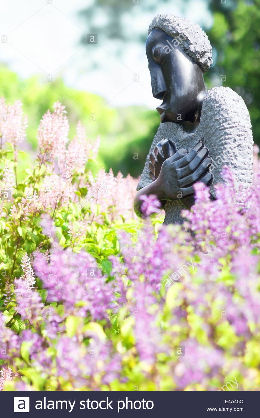 Sculpture of African woman crossing her arms amid flowers, Kirstenbosch National Botanical Garden, Cape Town, South - Stock Image