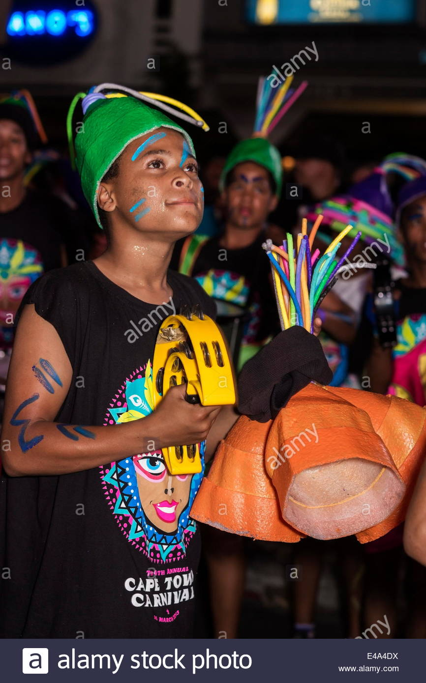 Teen boys in Cape Carnival parade, Fanfare street in GreenPoint,  Cape Town, South Africa, Africa - Stock Image