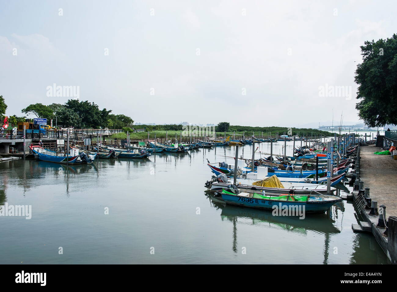 Little boats, Guandu Nature Park, Guandu, Taipeh, Taiwan, Asia - Stock Image