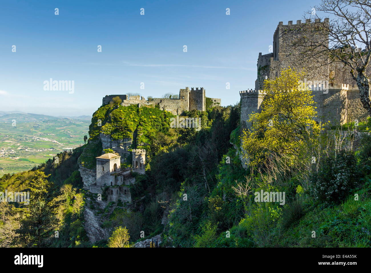 Saracen Arab era Pepoli Castle, now a hotel, in historic town high above Trapani at 750m, Erice, Trapani, Sicily, - Stock Image