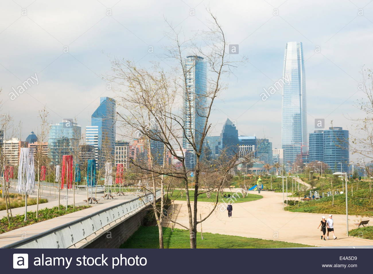 Overview of skyscrapers downtown from Bicentennial Park, Santiago, Chile, South America - Stock Image