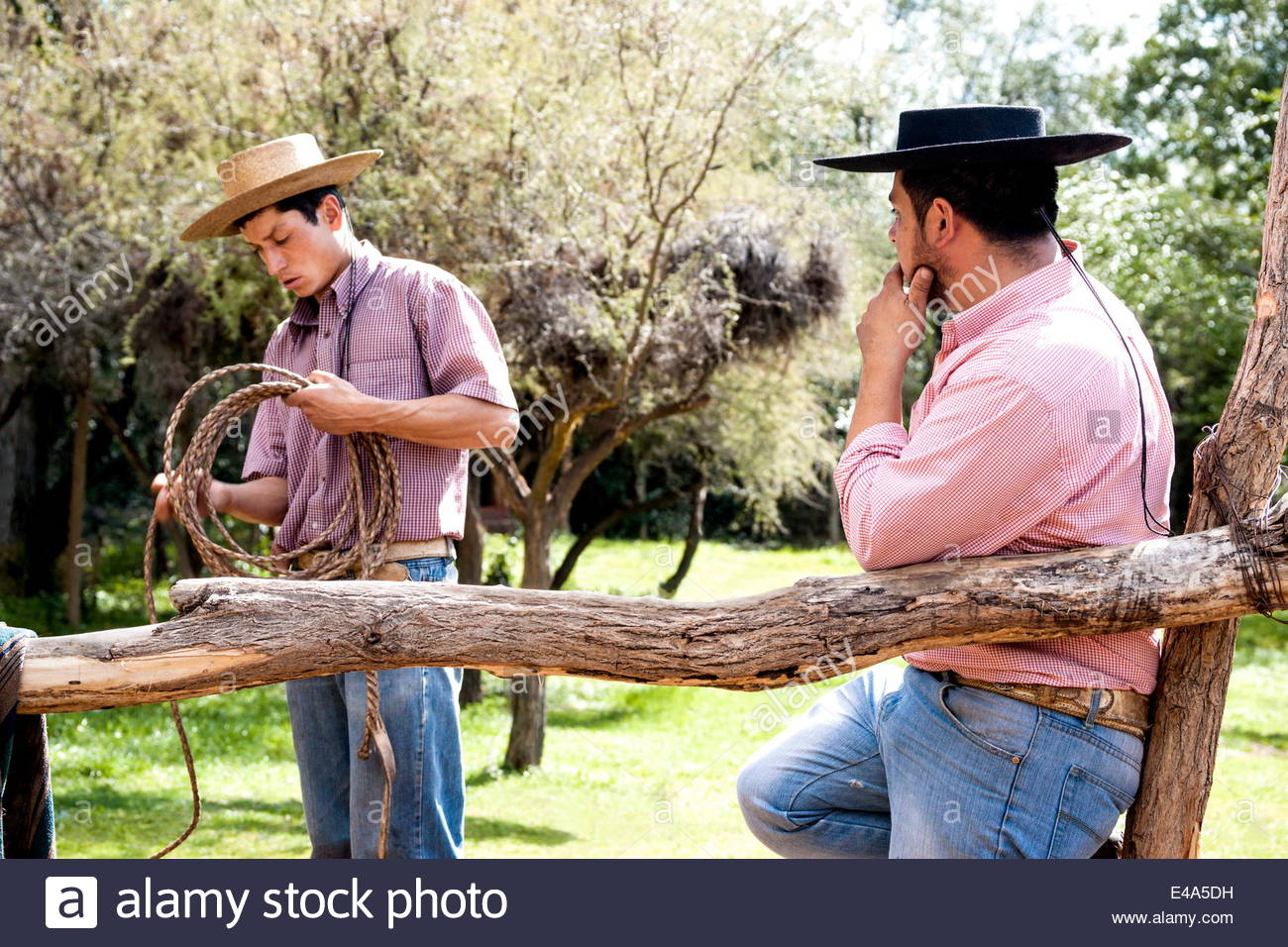 Two Chilean cowboys conversing outside stable on a horse ranch in El Toyo region of Cajon del Maipo, Chile, South - Stock Image