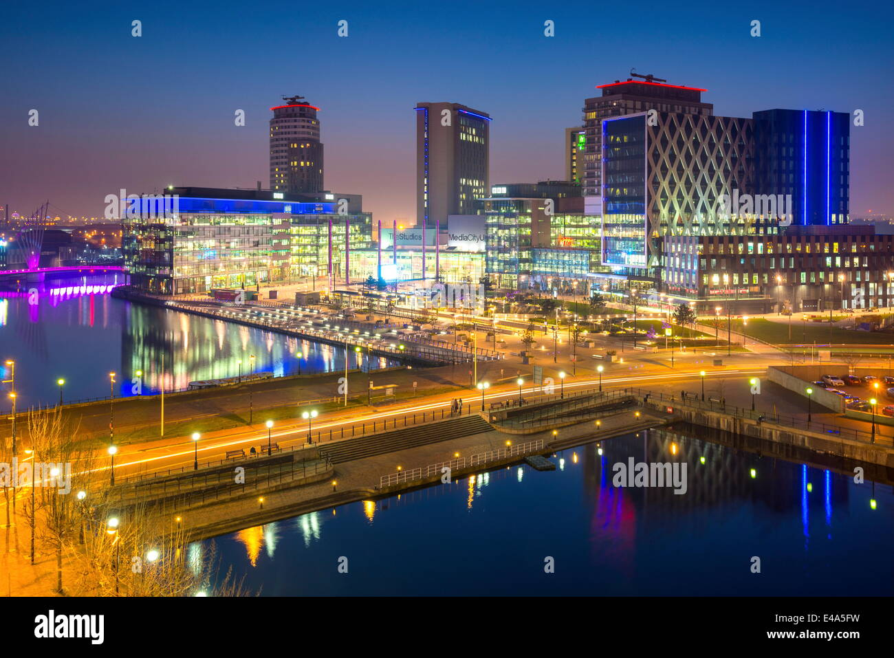 Elevated view of the modern MediaCity UK complex at Salford Quays in Manchester, England, United Kingdom, Europe - Stock Image