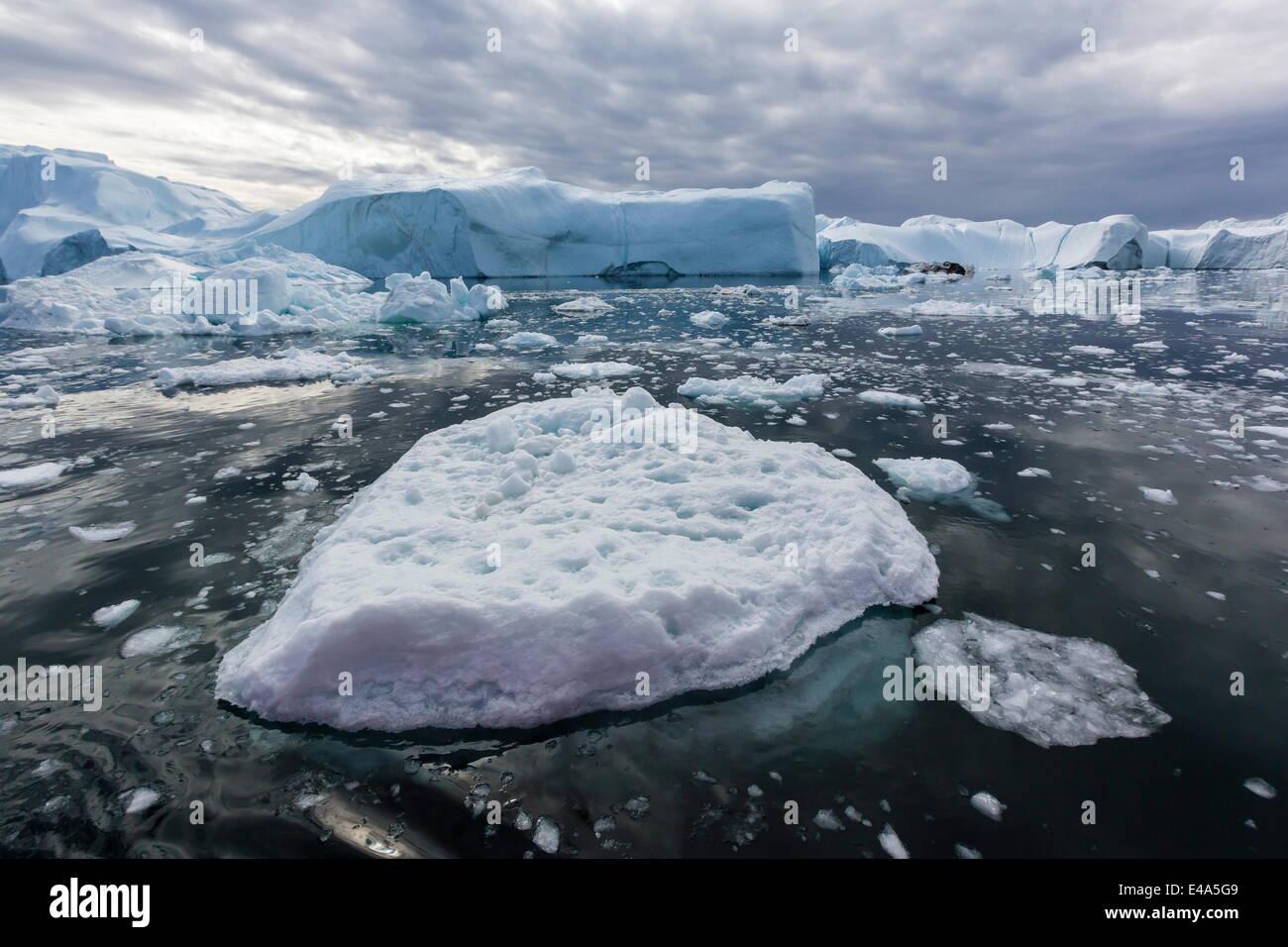 Huge icebergs calved from the Ilulissat Glacier, UNESCO World Heritage Site, Ilulissat, Greenland, Polar Regions - Stock Image