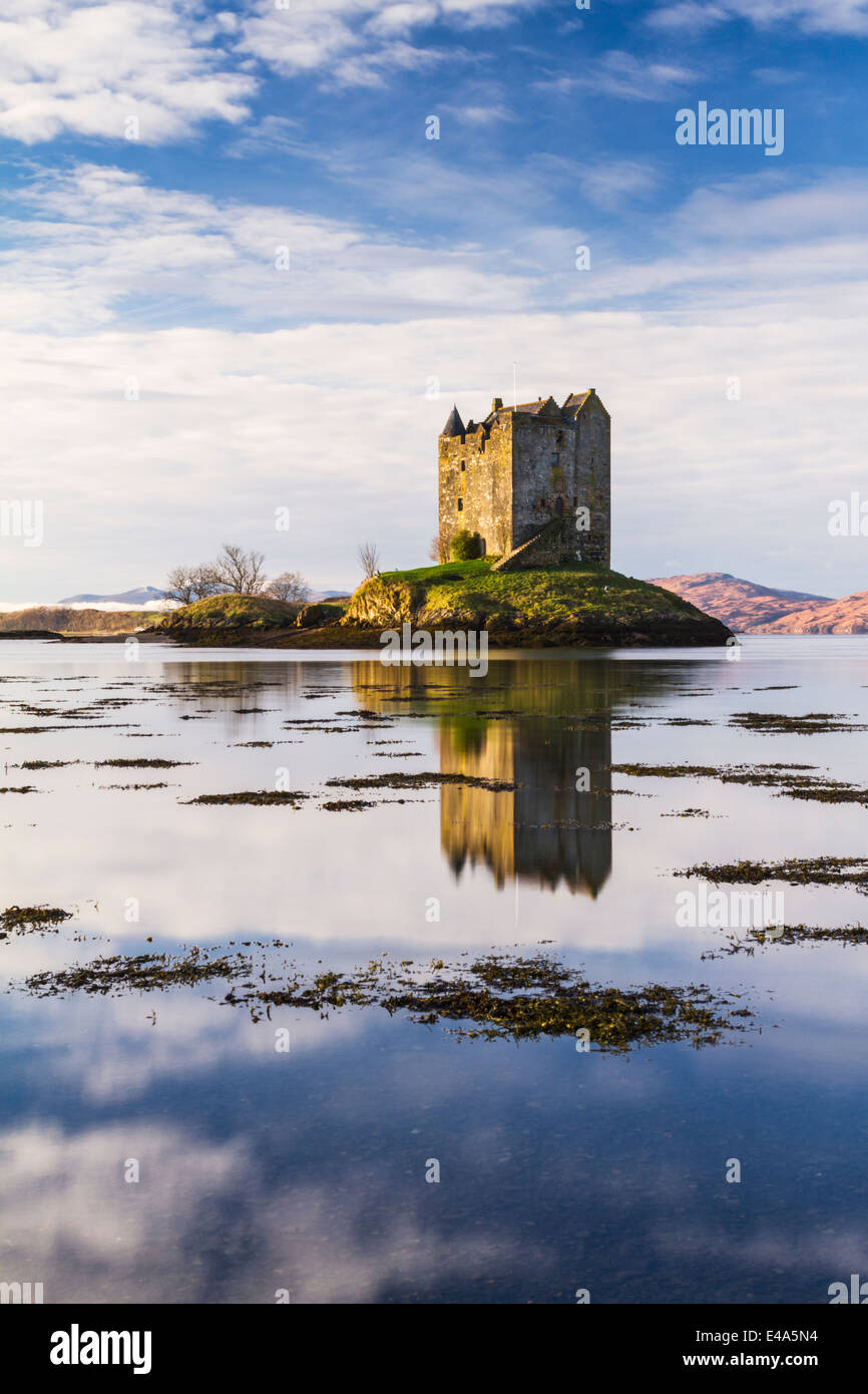 Castle Stalker, a four-storey tower house on Loch Laich in Argyll west of the Scottish Highlands, Scotland - Stock Image
