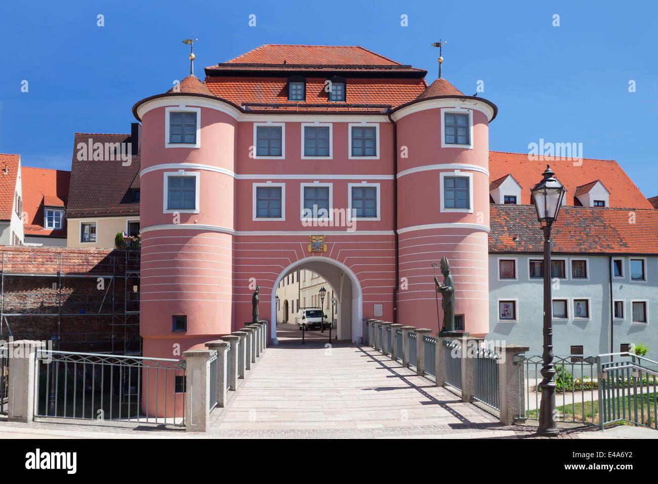 Rieder Tor gate, Donauworth, Romantic Road, Bavarian Swabia, Bavaria, Germany, Europe - Stock Image