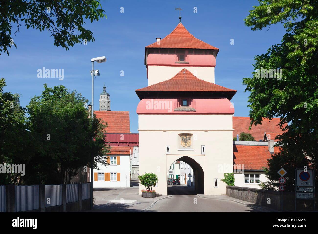 Reimlinger Tor gate, Nordlingen, Romantic Road, Bavarian Swabia, Bavaria, Germany, Europe - Stock Image