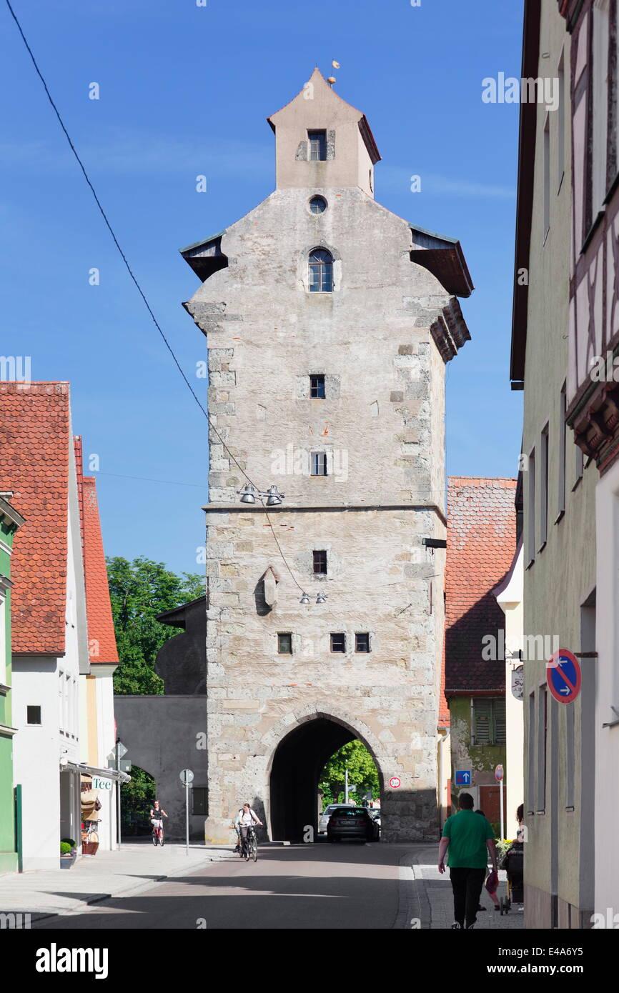 Deininger Tor gate, Nordlingen, Romantic Road, Bavarian Swabia, Bavaria, Germany, Europe - Stock Image