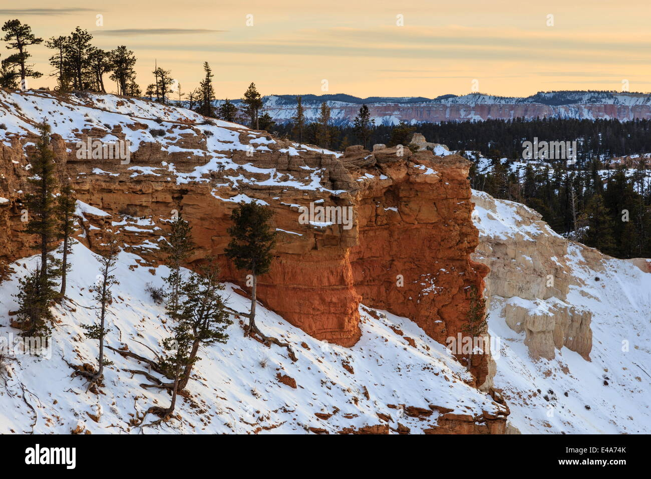 Snowy cliffs of the rim lit by weak winter's late afternoon sun, Bryce Point, Bryce Canyon National Park, Utah, - Stock Image
