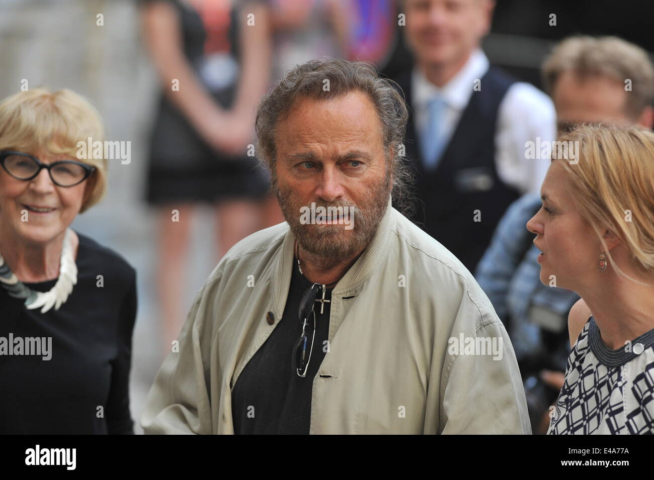 Italian actor Franco Nero (centre) is seen with artistical advisor Eva Zaoralova (left) during the 49th Karlovy - Stock Image