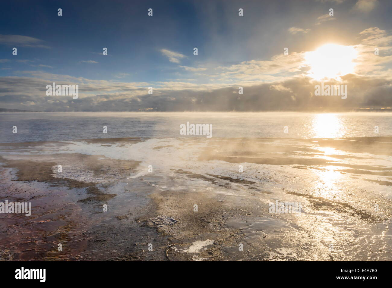 Freezing dawn mists, Yellowstone Lake at West Thumb Geyser Basin, Yellowstone National Park, UNESCO, Wyoming, USA - Stock Image