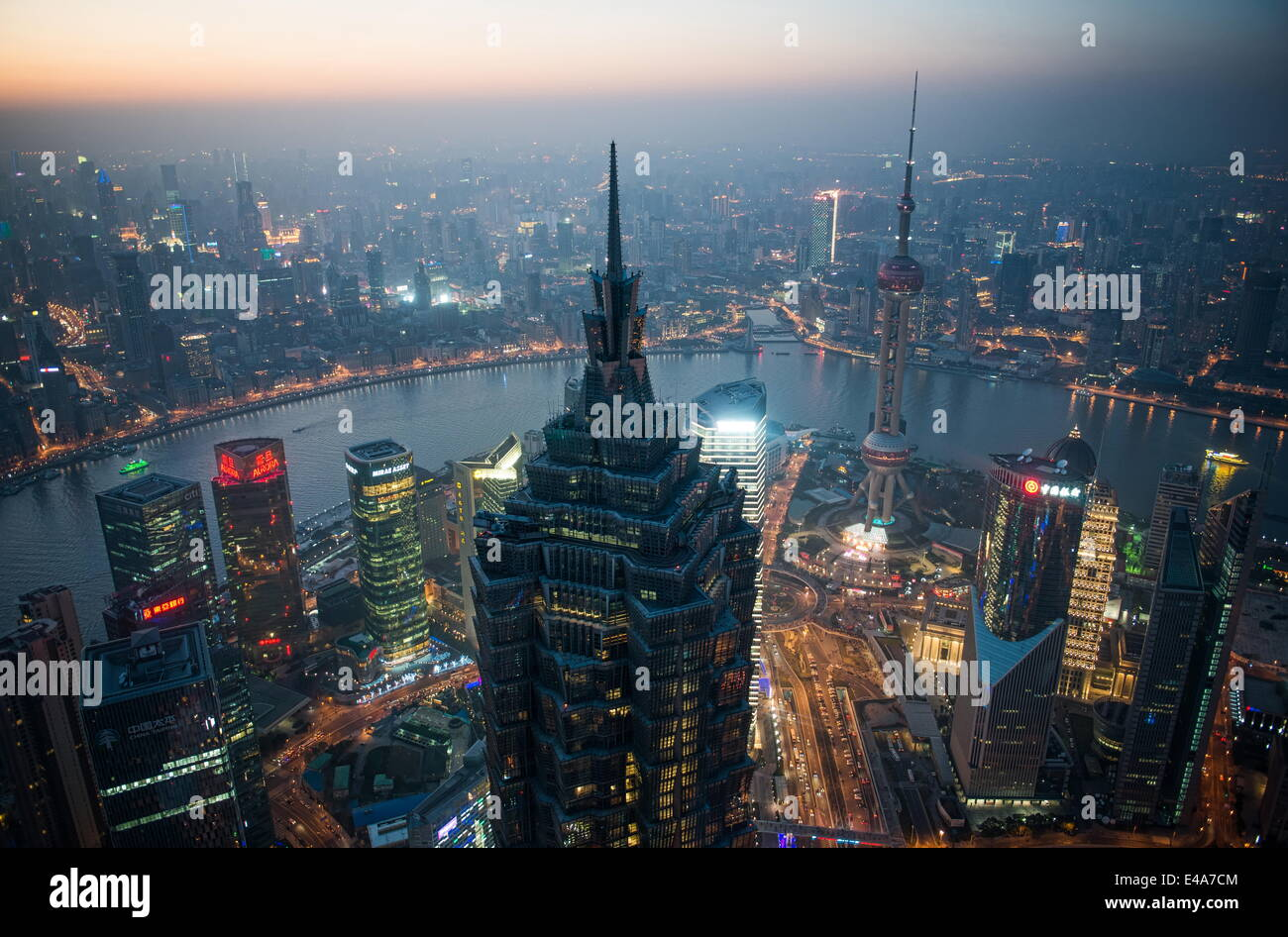 Shanghai Pudong with Jin Mao Tower, Oriental Pearl Tower, Huangpu River and Puxi cityscape, Shanghai, China, Asia - Stock Image