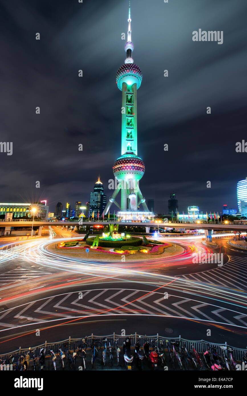 Oriental Pearl Tower with light trails in Shanghai Pudong, Shanghai, China, Asia - Stock Image