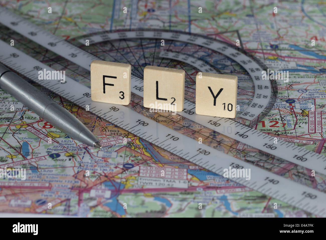 Flight Planning with Chart and Ruler - Stock Image