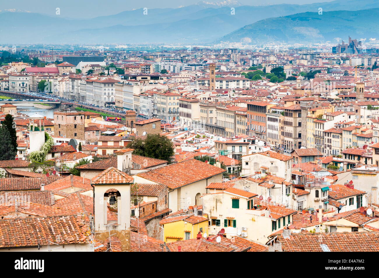 View of city center of Florence and River Arno, Florence (Firenze), UNESCO World Heritage Site, Tuscany, Italy, - Stock Image