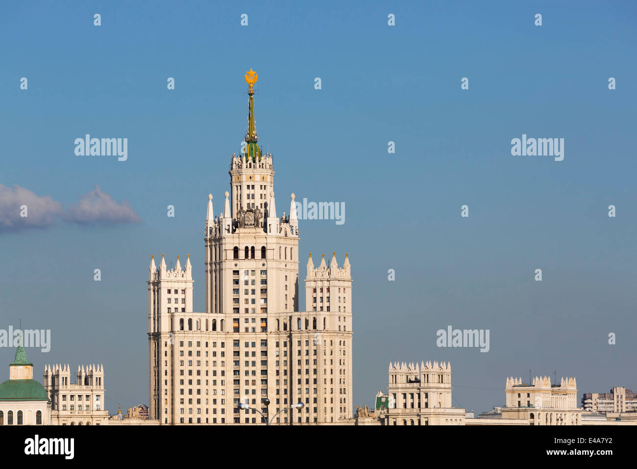 Moscow skyline with Stalanist-Gothic skyscraper, Moscow, Russia, Europe - Stock Image