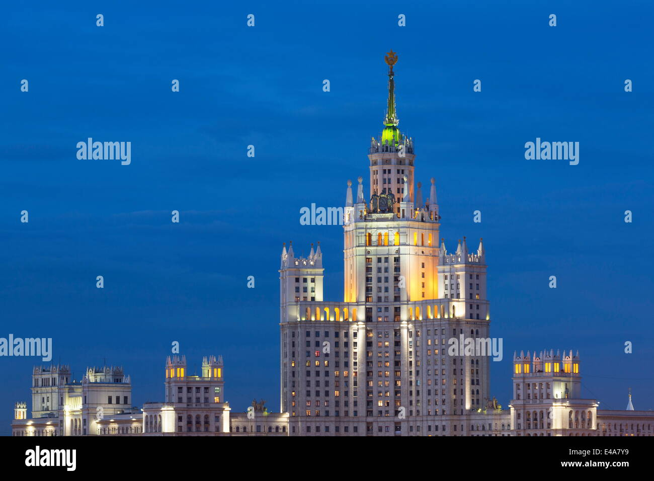 Moscow skyline at night with Stalanist-Gothic skyscraper, Moscow, Russia, Europe - Stock Image