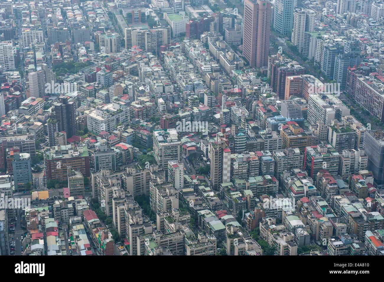 View over Taipei from the 101 Tower, Taipei, Taiwan, Asia - Stock Image