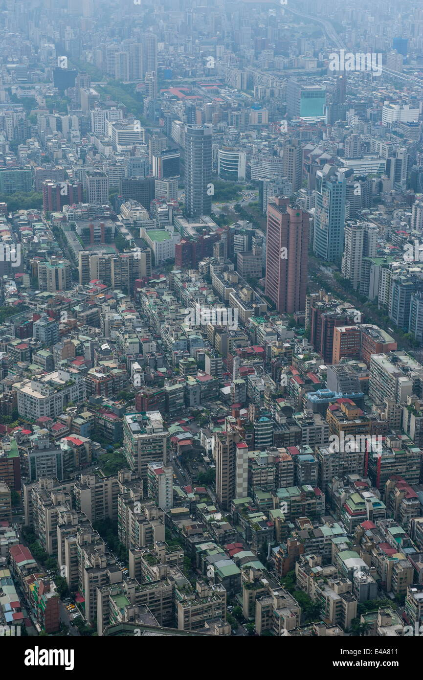 View over Taipeh from the 101 Tower, Taipeh, Taiwan, Asia - Stock Image