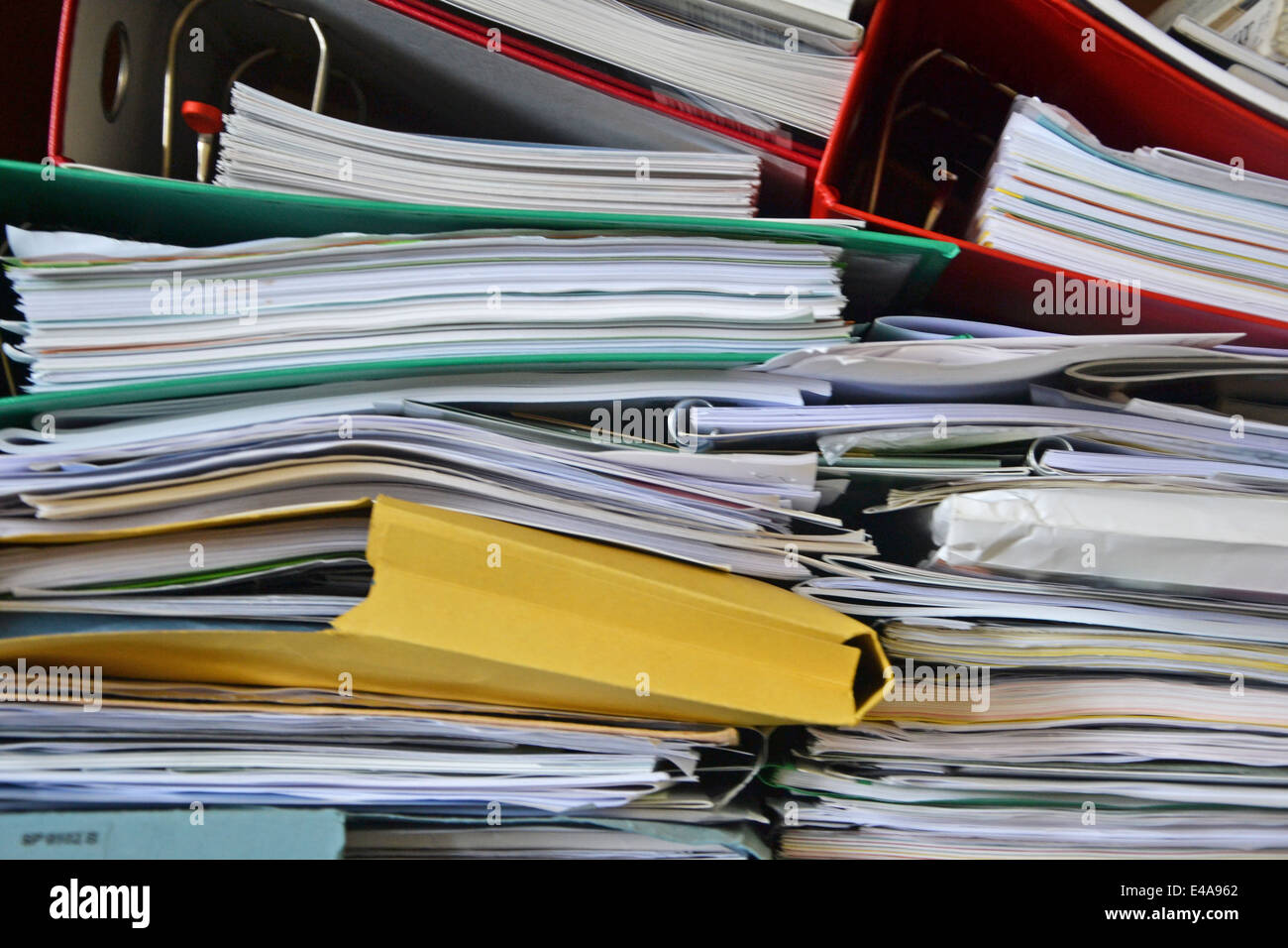 close up of a stack of paperwork - Stock Image