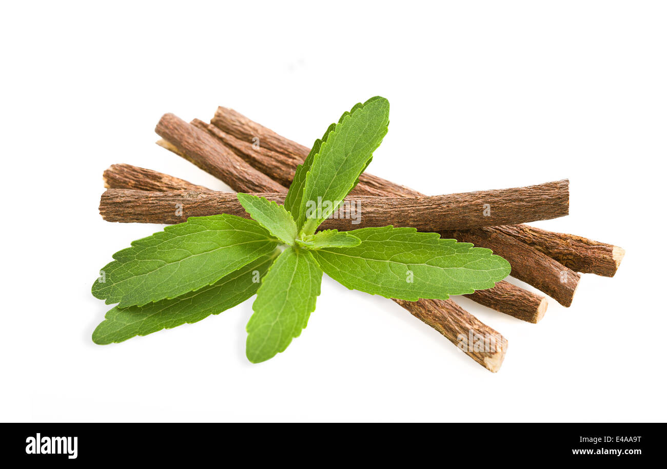 Roots licorice and stevia isolated on white Stock Photo