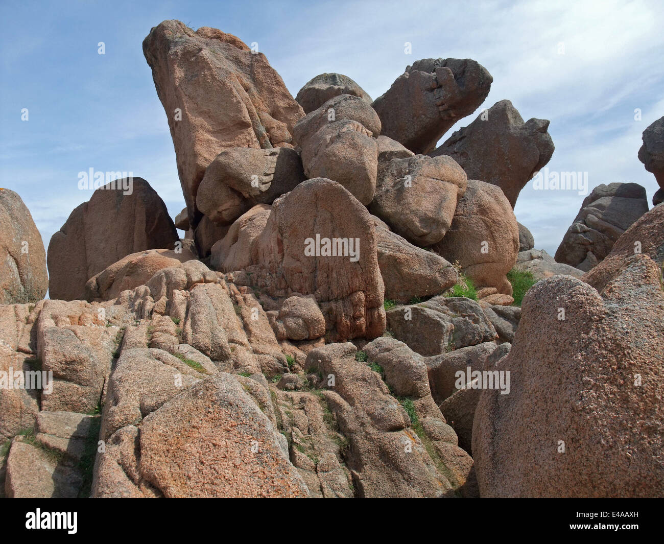granite boulders around Perros-Guirec at the Pink Granite Coast in Brittany, France Stock Photo