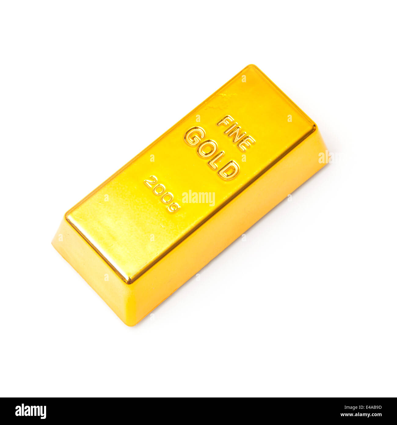 200 gram gold bar or ingot isolated on a white studio background. - Stock Image