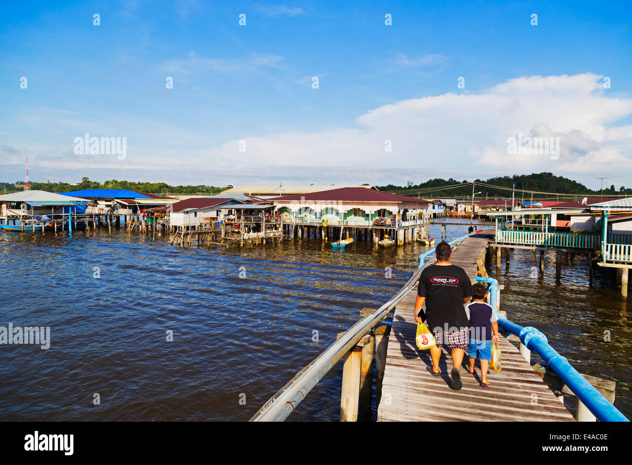 South East Asia, Kingdom of Brunei, Bandar Seri Begawan, Kampung Ayer water village - Stock Image