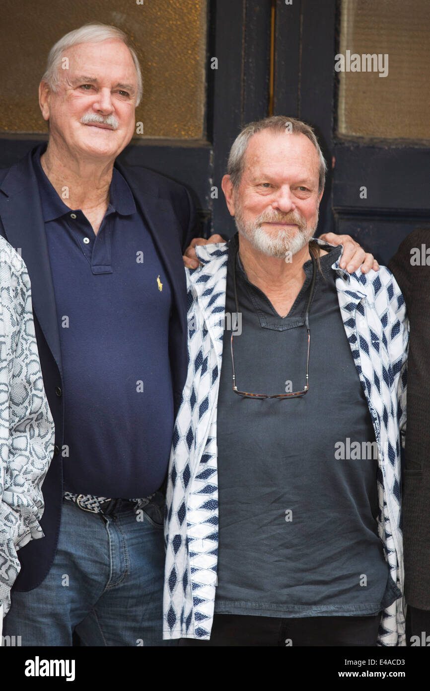 Monty Python photocall with John Cleese and Terry Gilliam at the London Palladium. - Stock Image
